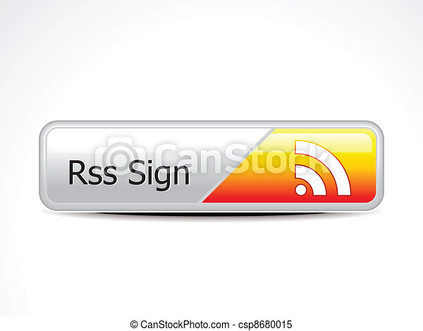 abstract glossy rss button vector - csp8680015