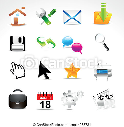 abstract glossy web icon set vector - csp14258731