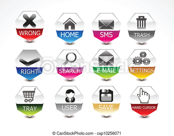 abstract glossy web icon set vector - csp10256071
