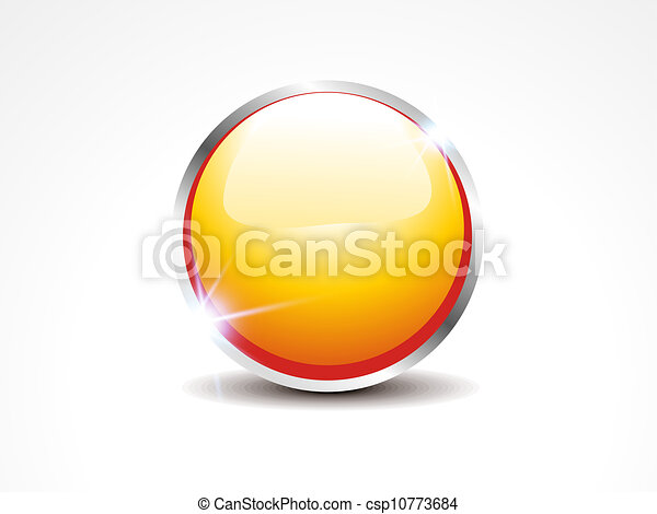 abstract glossy yellow web button - csp10773684