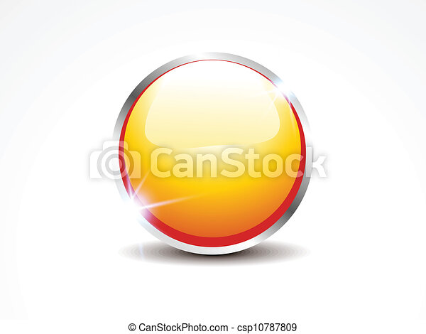 abstract glossy yellow web button - csp10787809