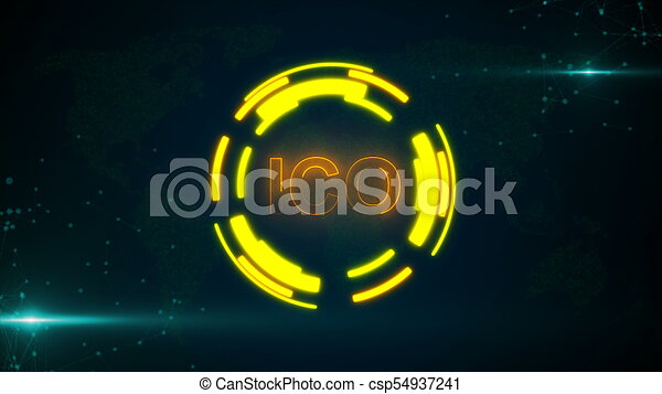 Abstract glowing digital currency button ICO with connecting dots and flares - csp54937241