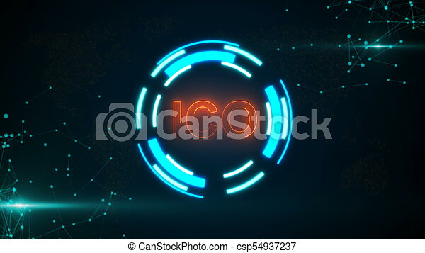 Abstract glowing digital currency button ICO with connecting dots and flares - csp54937237