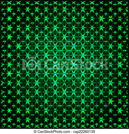 Abstract glowing green 3D fractal - csp22260139