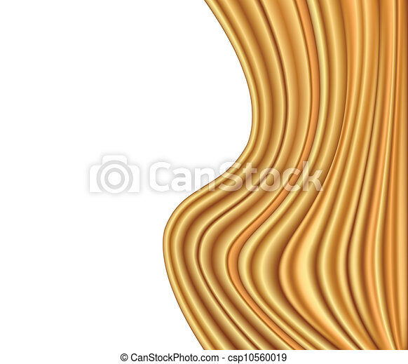 Abstract gold background luxury cloth wave. Vector - csp10560019