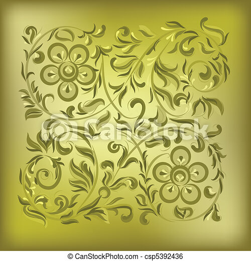 abstract gold background with floral ornament - csp5392436