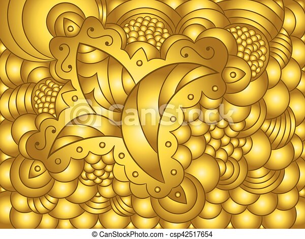 Abstract gold background with floral ornament - csp42517654