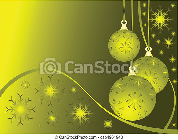 Abstract Gold Christmas Baubles Background - csp4961940