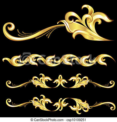 Abstract Gold Frame. - csp10109251