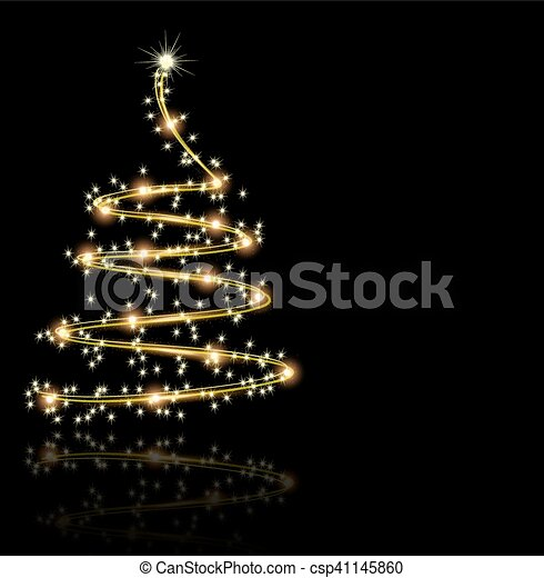 Abstract Golden Christmas Tree On Black Background Vector Art Illustration New Year