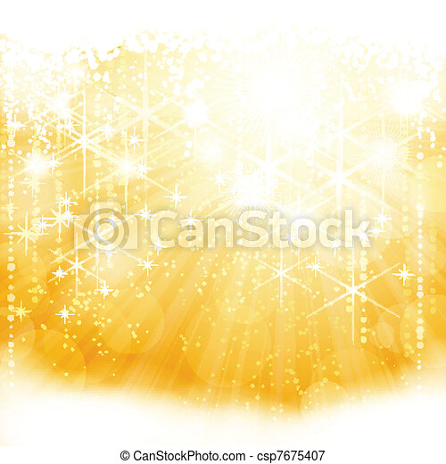 Abstract golden sparkling light burst with stars and blurry lights - csp7675407