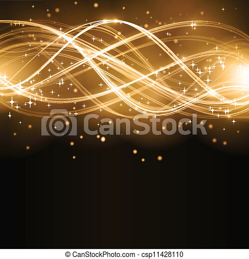 Abstract golden wave pattern with stars - csp11428110