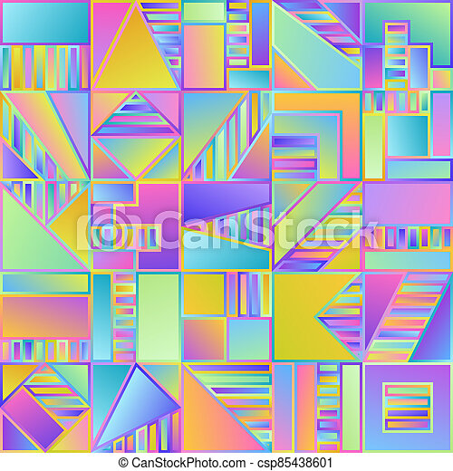 Abstract Gradient Seamless Pattern of Simple Geometric Figures Blue, Lilac, Pink, Violet, Yellow Squares. - csp85438601