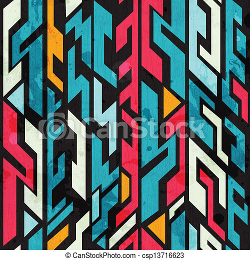 abstract graffiti seamless pattern with grunge effect - csp13716623