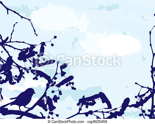 abstract grange vector background. Bird on the tree - csp9025459
