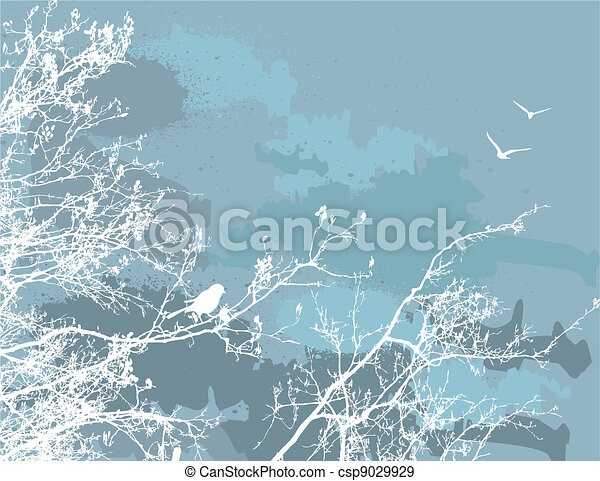 abstract grange vector background. Bird on the tree  - csp9029929
