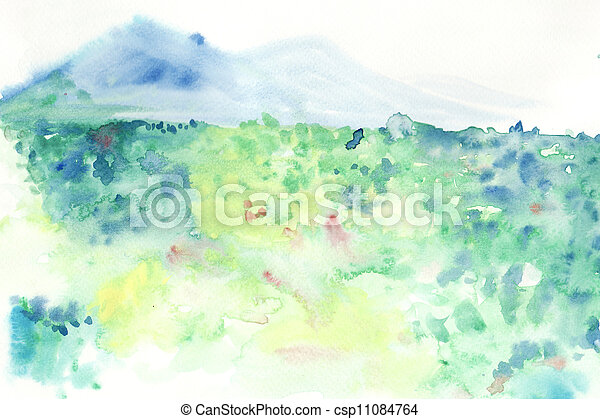 abstract grass field with moutain water colour painted background - csp11084764