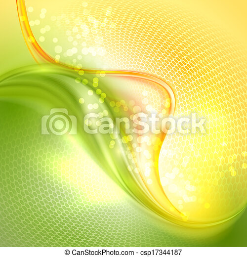 Abstract green and yellow waving background - csp17344187
