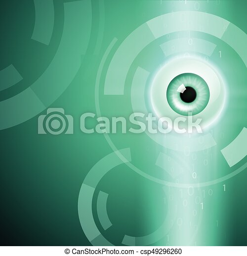 Abstract green background with eye - csp49296260