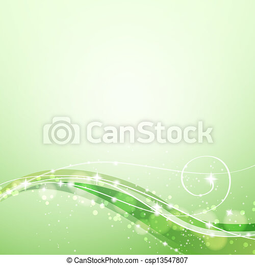 abstract green background with flowing lines and sparkles - csp13547807