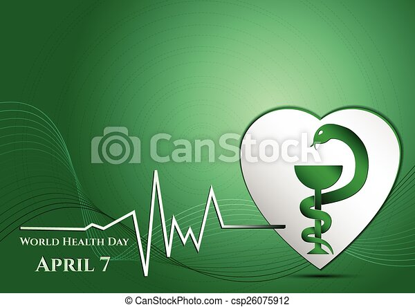 Abstract green background with medical symbols. World Health day. Vessel of Gigia on heart - csp26075912