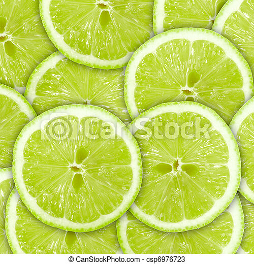 Abstract green background with citrus-fruit of lime slices - csp6976723