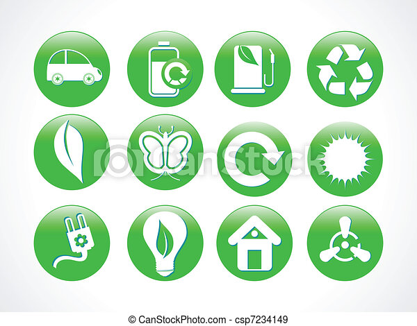 abstract green eco icon - csp7234149
