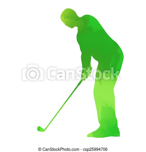 Abstract green golf player - csp25994706