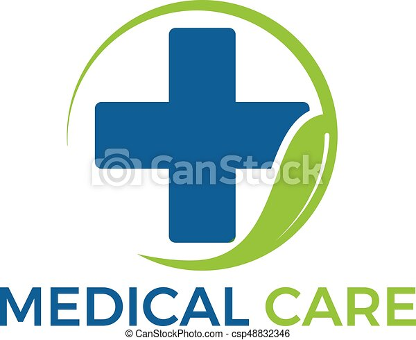 abstract green leaf and blue cross medical vector logo eps vector rh canstockphoto com st. jude medical vector logo medical snake logo vector