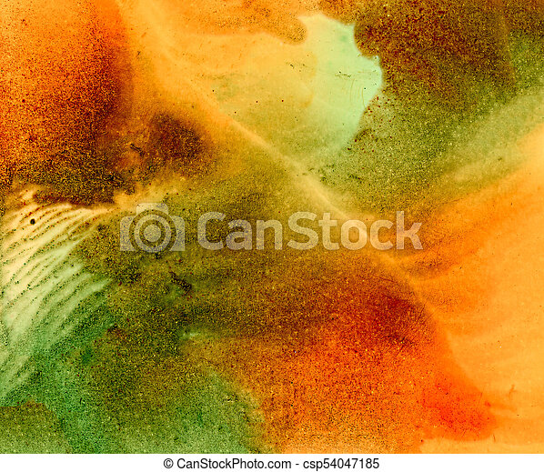 Abstract Green Orange Smudge With Texture