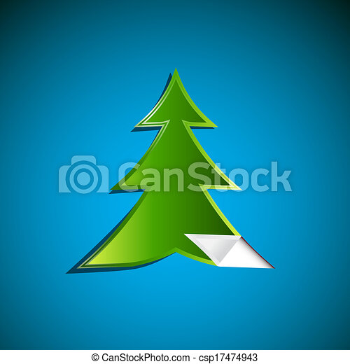 Abstract Green Paper Tree on Blue Background - csp17474943