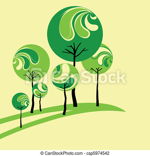 Abstract green tree on yellow background - csp5974542