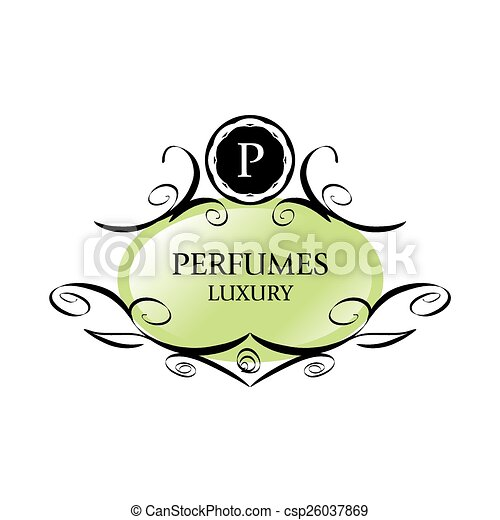 abstract green vector logo for perfumes - csp26037869