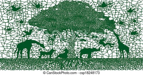 Abstract green wildlife animals background. - csp18248173