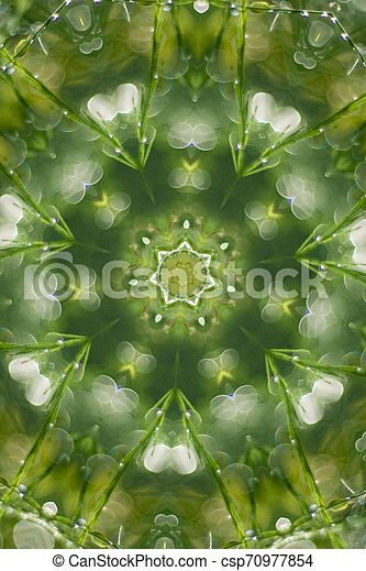 Abstract greenery background, green leaves with kaleidoscope effect - csp70977854