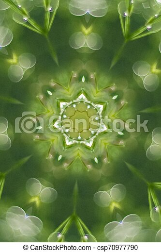 Abstract greenery background, green leaves with kaleidoscope effect - csp70977790