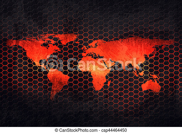 Abstract grey rusty metal plate with embossed world map in stock abstract modern grey rusty metal plate with embossed world map material design in hexagonal perforated background for wallpaper graphic design gumiabroncs Images