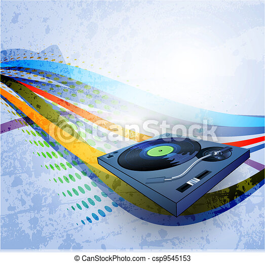 abstract grunge background, Illustration of a turntable - csp9545153