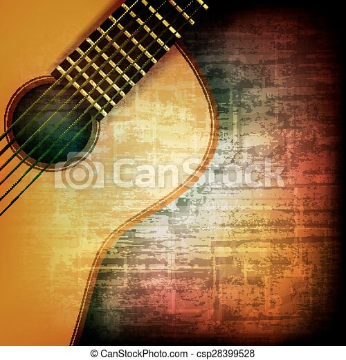 abstract grunge background with acoustic guitar - csp28399528