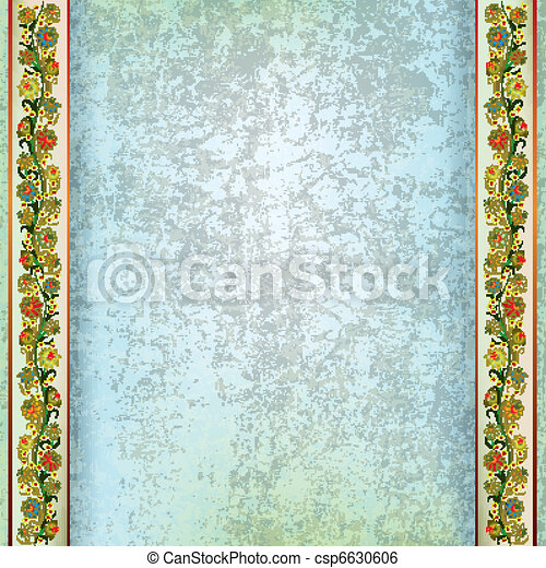 abstract grunge background with floral ornament - csp6630606
