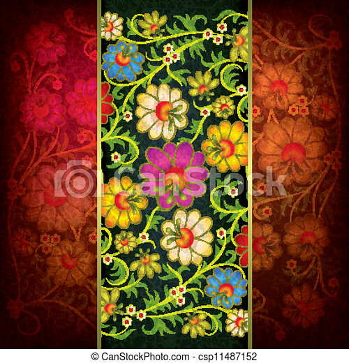 abstract grunge background with floral ornament - csp11487152