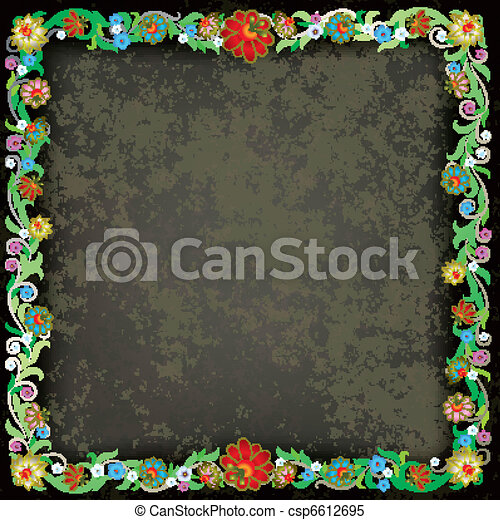 abstract grunge background with floral ornament - csp6612695