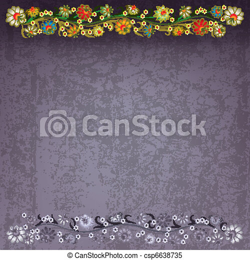 abstract grunge background with floral ornament - csp6638735