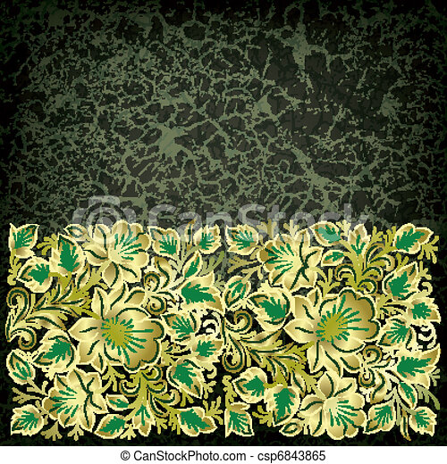 abstract grunge background with floral ornament - csp6843865