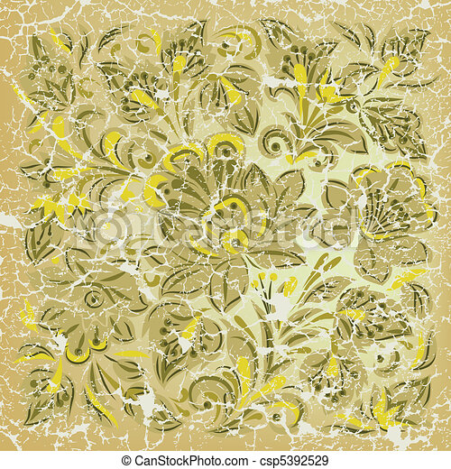 abstract grunge background with floral ornament yellow - csp5392529