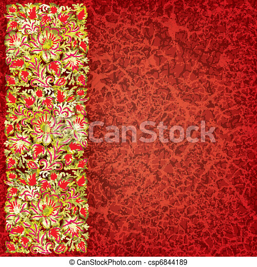 abstract grunge background with floral ornament - csp6844189