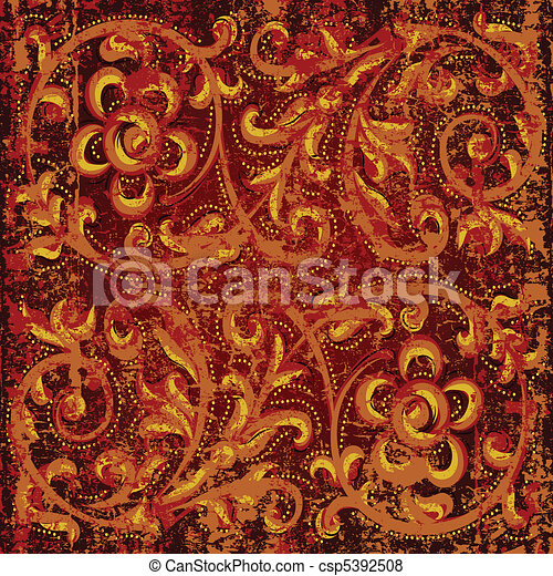 abstract grunge background with floral ornament - csp5392508