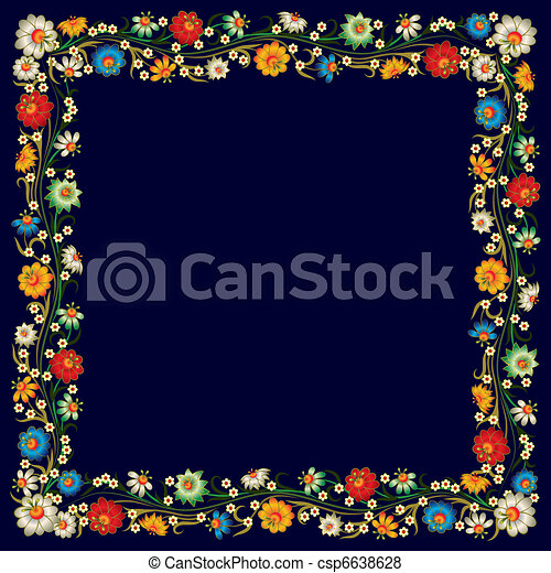 abstract grunge background with floral ornament - csp6638628