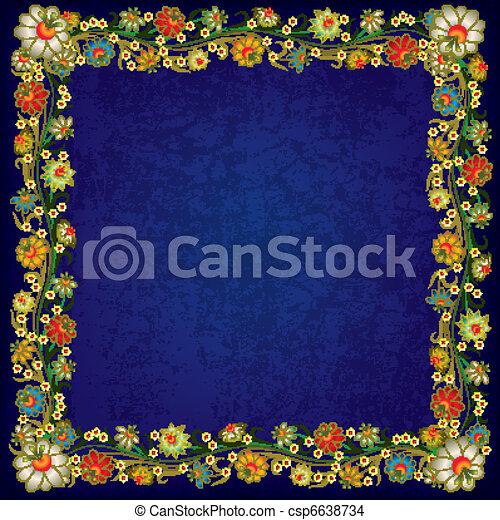 abstract grunge background with floral ornament - csp6638734