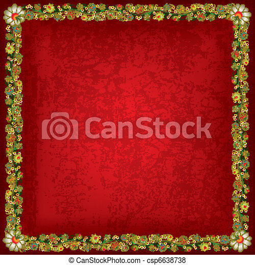 abstract grunge background with floral ornament - csp6638738